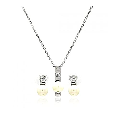 Rhodium Plated Brass Pearl Elongated Center Clear Cubic Zirconia Stud Earring & Necklace Set