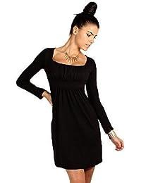 0d25405613c FUTURO FASHION Divine Femmes Mini Robe col carré Manches Longues 2914 -  Noir