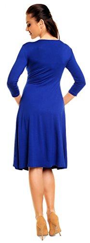Zeta Ville - Robe Été - Robe Patineuse - Manches 3/4 - Robe de fête - Femme - 282z Bleu Royal