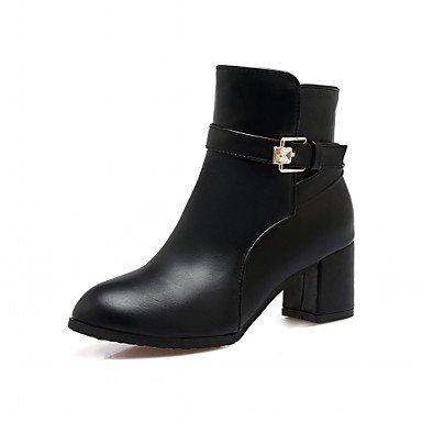 Rtry Femmes Similicuir Chaussures Hiver Printemps Mode Bottes Bottes Chunky Talon Bout Rond Bottines / Bottines Boucle Bureau Occasionnel Et Carrière Us5.5 / Eu36 / Uk3.5 / Cn35