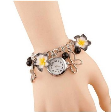 GirlZ! 2015 Romantic black flower bracelet with watch for Women