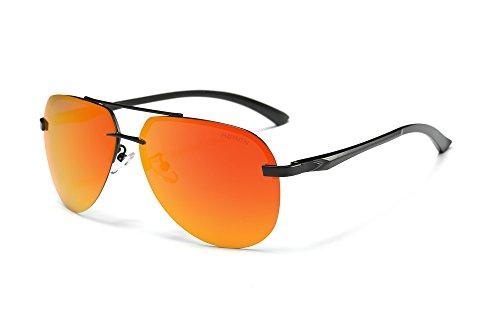 Polarisierte Sonnenbrille Herren Klassische Legierung Brillen Damen Fashion Designer Freizeit Brille 100% UV400Eyewear A143 - Black Frame Red Lens