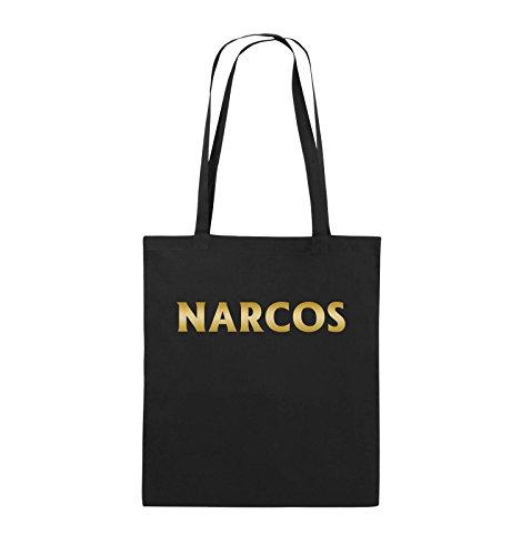 Comedy Bags - NARCOS - LOGO - Jutebeutel - lange Henkel - 38x42cm - Farbe: Schwarz / Pink Schwarz / Gold