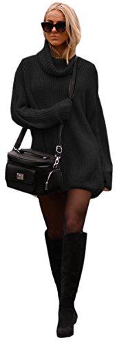 Damen Strickpullover Sweater Rollkragen Pullover Jumper Strick Pulli Oversize (648) (Schwarz)