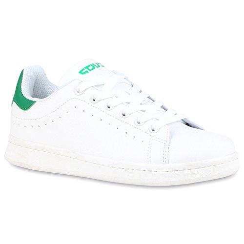 Damen Sneakers Sportschuhe Schnürer Lack Lederoptik Schuhe Weiss Grün
