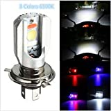 #6: Delhitraderss H4 HID 6000K White COB LED Hi/Lo Beam Motorcycle bike scoty Headlight Bulb/Lamp
