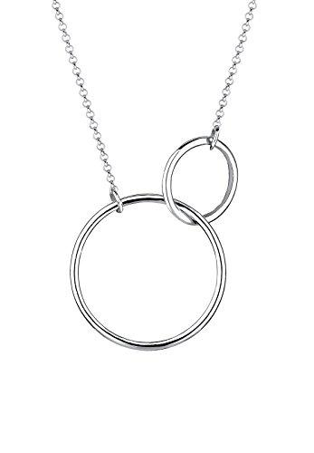 Elli Damen Schmuck Echtschmuck Halskette Kette Anhänger Geo Kreis Rund Sterling Silber 925 Länge 45 cm