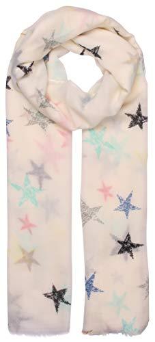 Highlight-Company Leichter Sommerschal mit bunten Sternen, Sommertuch, Schal in 6 Farben (weiß) -