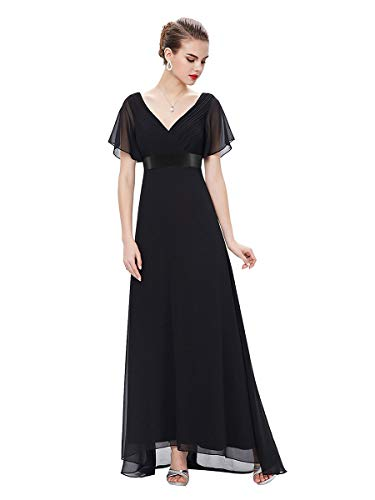 Ever-Pretty Robe de Soirée Longue Femme Col V Manches Courtes 46 Noir