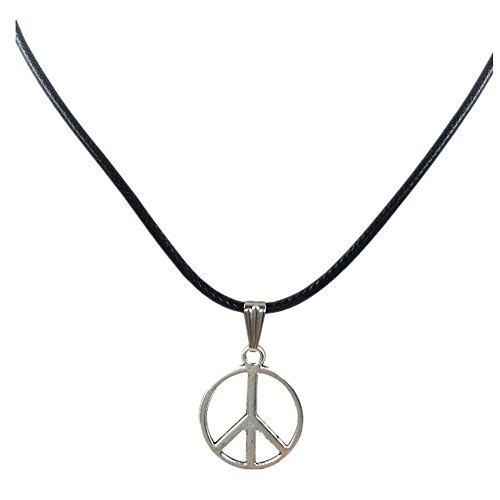 Peace and Love Collier Hippie Pendentif (Argente)