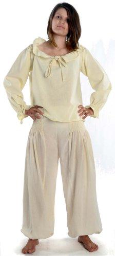 HEMAD Damen Hose Muck-Pluderhose naturbeige L/XL Mittelalter Piraten Hose (Damen Piraten Hose)
