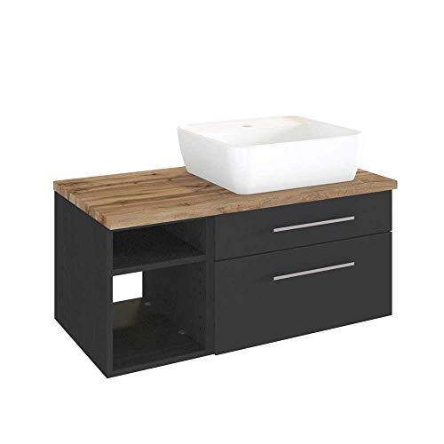 #Pharao24 Waschtischunterschrank mit Aufsatz-Waschbecken dunkel Grau und Wildeiche Dekor#
