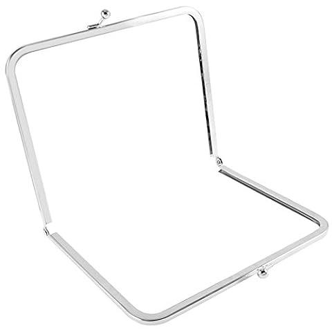 Argenté 17,5 cm en métal en forme de cadre rectangulaire Kiss pour sac à main, porte-monnaie