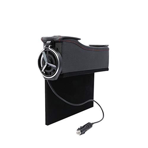 LinHut Multifunktionaler Innenraum Doppel USB Port Multifunktions Leder Catcher Box Autositz Cup Spule Tasche Speicherorganisator Auto-Universaldekoration (Color : Black2) Port Cup