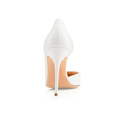 EDEFS - Scarpe Donna Tacco - Classiche Scarpe col Tacco - Taglia Grossa Scarpe Bianco