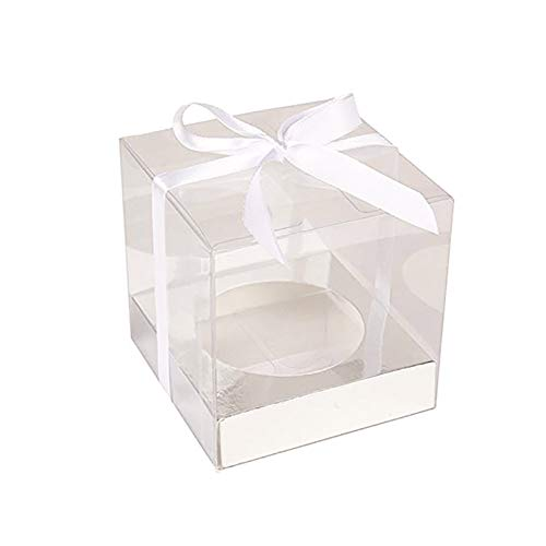 12Pcs Clear PVC Cupcake Boxes Bakery Boxes Gift Wrapping Boxes DIY Craft Pudding Case Boxes Wedding Birthday Party Favor