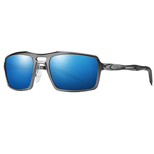 WULE-Sunglasses Unisex Herren Sport Radsportbrille Trend Fashion Grauer Rahmen UV400-Schutz Neue polarisierte Aluminium-Magnesium-Sonnenbrille (Farbe : Blue)