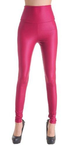 (MrHappyDeal Leder Leggings Leggins Damen | Sexy PU Lederhose Strumpfhosen in schwarz, rot u.v.m. (leg_led_vielf) (M (36/38), Pink))