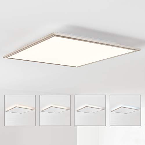 LED Panel Deckenleuchte 60x60cm, 1x 42W LED integriert, 1x 3500 Lumen, 2700-6200K, Metall/Acryl, nickel eloxiert -