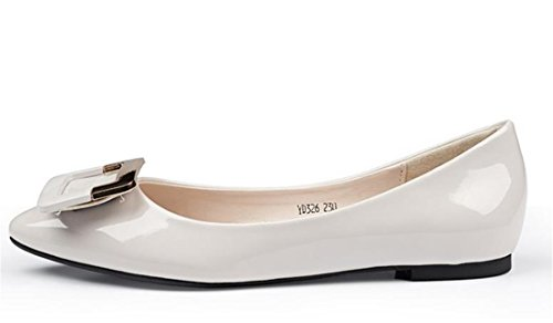 QIYUN.Z Les Femmes Casual Chaussures Shaalow Talon Plat Mode Boucle Chaussures Bout Pointu De La Cheville Gris