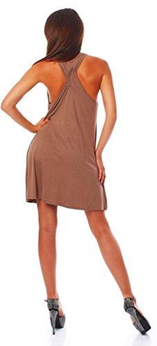 id Minikleid Top Tunika Trägerkleid mit offenen Schultern mit Kreuz am Rücken Kakao XL (Kakao Kostüme)