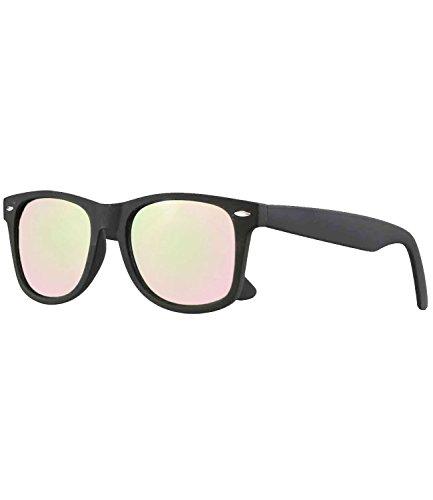 caripe Wayfarer Retro Nerd Vintage Sonnenbrille verspiegelt Damen Herren- SP (schwarz matt gummiert - rosa verspiegelt)