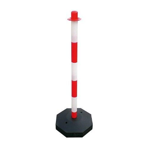 Preisvergleich Produktbild Kettenpfosten Absperrpfosten Pfosten Kunststoff Größe 90 cm diverse Farben, Farbe:rot/weiß
