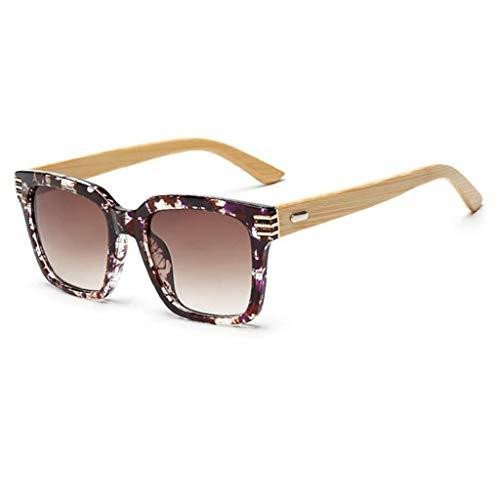 Hjbh123 HJBH Sonnenbrille XHM-51 Natürliche handgemachte Sonnenbrille aus Bambusholz mit Beinen PC-Rahmen Brille aus Bambusholz Uv400-Schutzbrille - (braun)