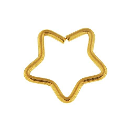Star inox 316L chirurgical acier Daith Piercing Cartilage faux, Helix, Septum, bijoux de nez PVD or jaune