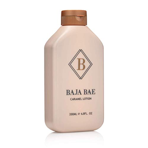 BAJA BAE Bronze Tanning Lotion for Indoor Tanning Beds - 3 in 1 Sunless Tanning Lotion Tinted Moisturizer and Highlighting Face Tanner - Caramel Scent 200ml -