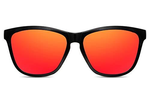 Cheapass Sonnenbrille Verspiegelt Schwarz Rot UV-400 Sport-liche Designer-Brille Plastik Herren -