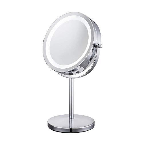 L&Z LED Kosmetikspiegel 17,8 cm Kosmetik Tisch Spiegel mit Licht,beleuchtet mit 5-facher...