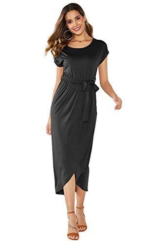Yidarton Sommer Kleid Damen Shirt Kleider Lang Strandkleid Beach Kleid Partykleid Elegant Maxikleid(Schwarz1,XL) -