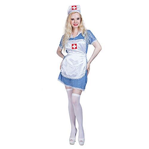 Kostüm Dienstmädchen Alte - FZTX-ZJJ Halloween Dienstmädchen Kostüm Performance Stage Kostüm Halloween Dress Up Adult Cosplay Kleid Maid Doctor Kostüm,L
