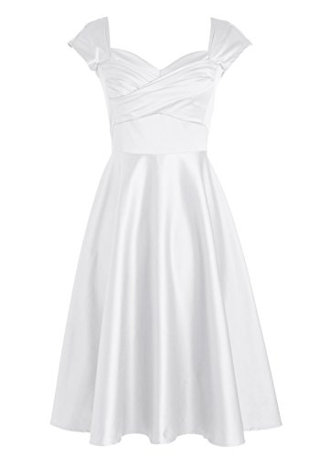 Find Dress Sexy Robe Desigual d'Anniversaire Fête Gala Sirène Robe de Mariée Courte Cérémonie Femme Style Classique en Satin Elastique Blanc