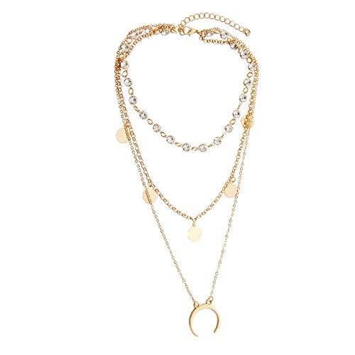 Scpink Vendita liquidazione, Offerte collana pendente, donne collana a più strati di lega pendente a catena in lega irregolare gioielli regalo (Oro)