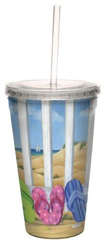 Tree-Free Greetings - Bicchiere da viaggio con coperchio e cannuccia, motivo: sandali in spiaggia (by Paul Brent), doppio strato, riutilizzabile