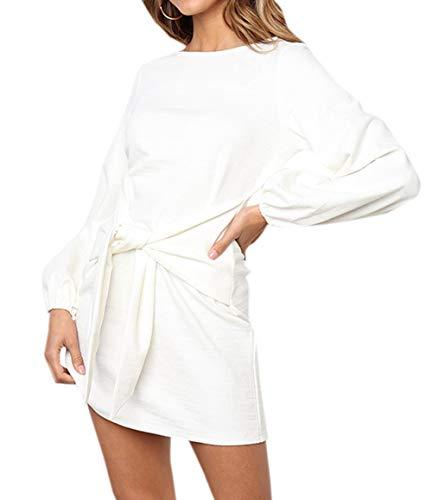 Frühling Herbst Minikleid Damen Freizeit Langarm Rundhals Kleid mit Bandage Blusenkleider Mode Slim Kleider Wickelkleider Cocktailkleid Abendkleider Partykleid