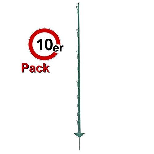Göbel Weidezaunpfahl PP Copo GF Kunststoffpfahl 125cm 8 Bandösen 4 Seilösen mit Stahlnagel grün 10 St.