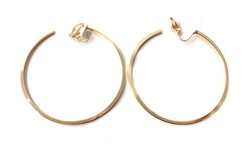6cm Mode Femme Créoles Doré Clip on Boucles d'oreilles Hoops Medium Taille non percées en cuivre