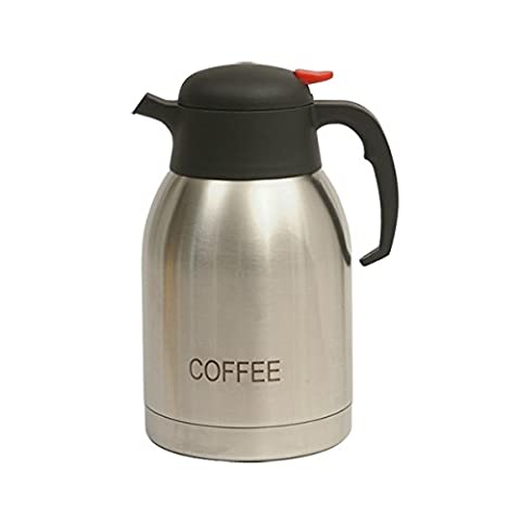 Genware NEV-V2099COFFEE Vacuum Push Button Inscribed Coffee Jug, Stainless Steel,