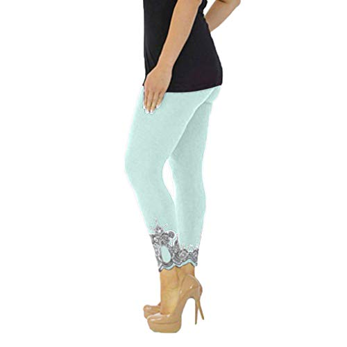 WOZOW Damen Leggings Gamaschen Übergröße Solid Basic Lace Cuff Trousers High Waist Stretch Elastisch Dünn Skinny Lang Long Sport Hose Yoga Stoffhose (3XL,Light Grün
