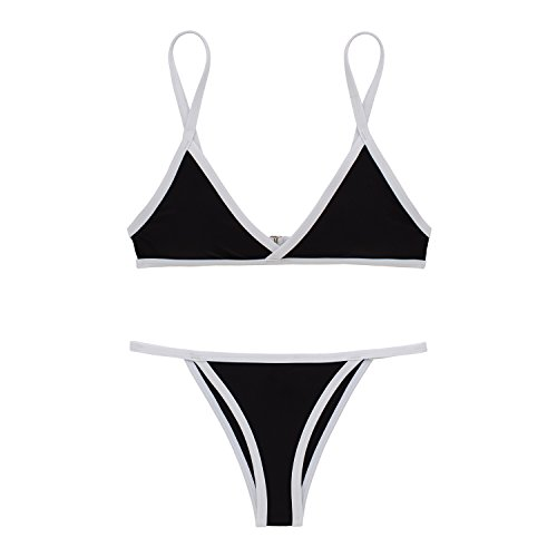 X-HERR Donna Colore Contrasto Triangolo Superiore Bottomino Brasiliano Costumi da bagno Bikini Nero