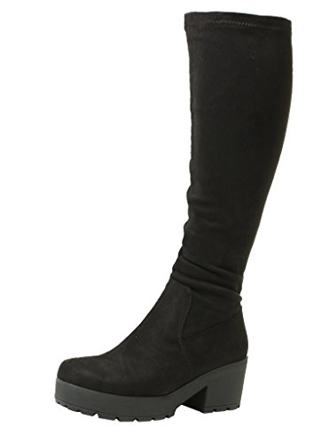 ladies-womens-black-chunky-heel-suede-stretch-wide-calf-fit-calf-knee-high-boots-sizes-3-4-5-6-7-8-u