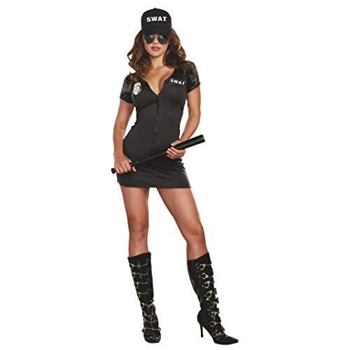 Dreamgirl Kostüm SWAT Polizistin Kleid Basecap Polizei Uniform Amerika Fasching Karneval - Sexy Polizei Übergröße Kostüm
