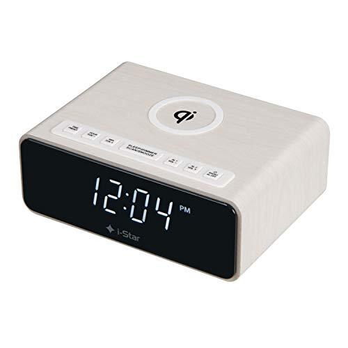 Radio Despertador Digital para mesita de Noche con Carga Inalámbrica, 12/24HR, Radio FM, alimentación...
