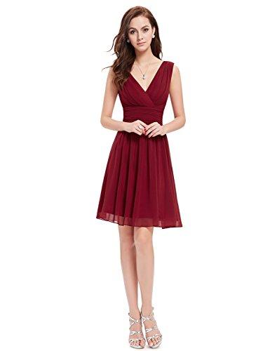 Ever Pretty Doppelt V-Ausschnitt Rueschen an Taille Elfenbein Kurz Damen Party Kleid 03989 Burgundy