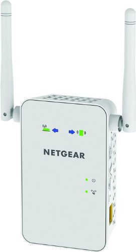 Foto Netgear EX6100-100PES AC750 Mbps WiFi Range Extender Universale, Ripetitore Wireless Dual Band, 1 Porta Gigabit, Antenne Esterne, Wall Plug, Bianco