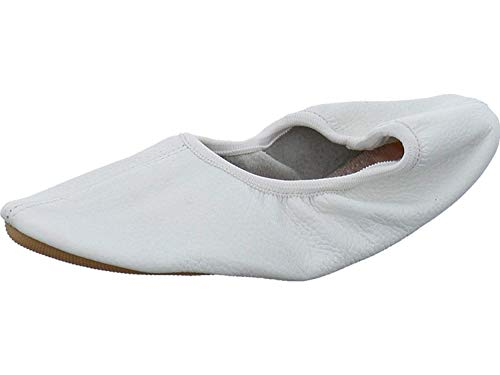 Beck 080 - Gymnastikschuhe aus echtem Nappa Leder für Damen,Herren und Kinder (41, Weiß)