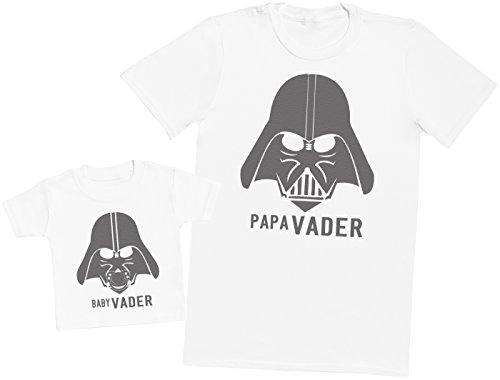 Zarlivia Clothing Baby Vader & Papa Vader - Ensemble Père Bébé Cadeau - Hommes T-Shirt & T-Shirt bébé - Blanc - M & 1-2 Ans